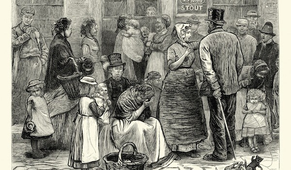 Old Victorian London Sketches Waiting outside the Pub 1874