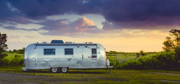 Vintage airstream trailer at dusk