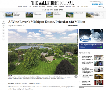 Wall Street Journal Mansion  - August 26, 2015