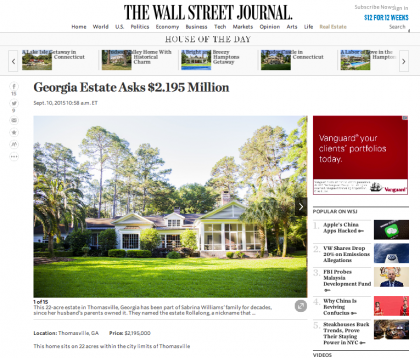 Wall Street Journal Mansion  - September 10, 2015