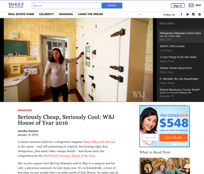 Yahoo Real Estate - January 15, 2016